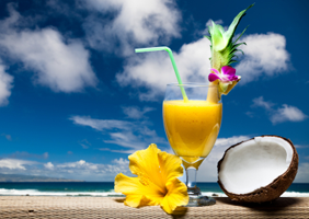 Pina colada on beach