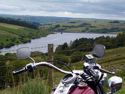 Brecon Beacons with touring motorbike in foreground