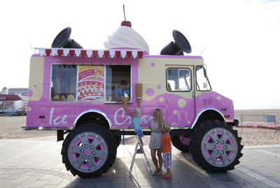 Big pink ice cream van