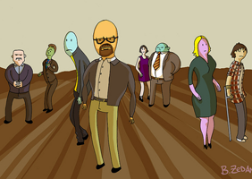 Cartoon of breaking bad characters