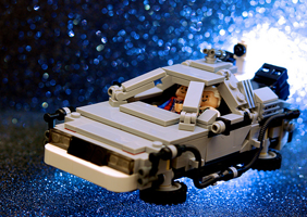 Image of Delorean with lego men