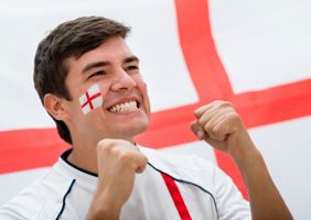 Excited england fan