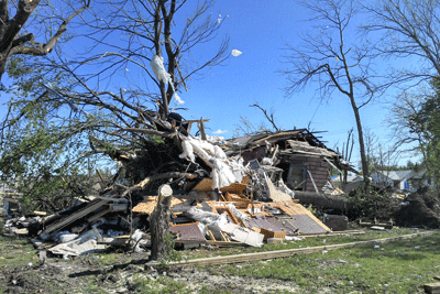 Image of house damaged by tornado