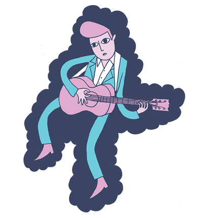 An illustration of Elvis during his rockabilly period by Dominic Meyer
