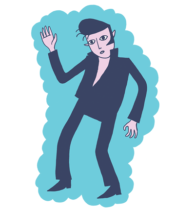 An illustration of Elvis during his Jailhouse Rock period by Dominic Meyer