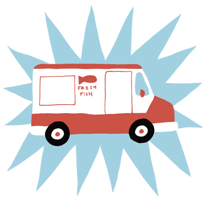 Image of cartoon fish and chip van