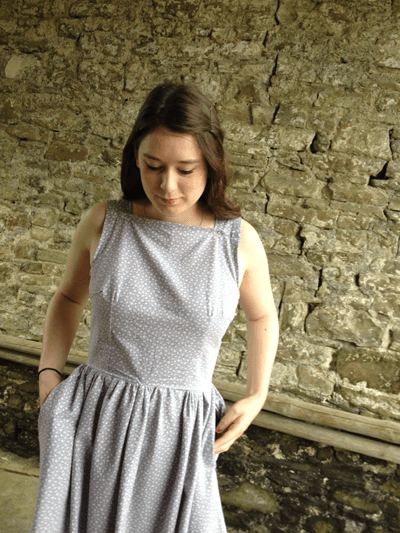 A photo of Aneira Davies wearing a handmade dress
