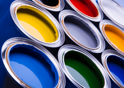 A photo of tins of paint