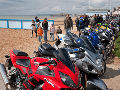 Lots of motorbikes on Hastings seafront