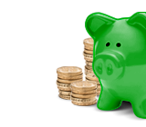 Savings and Isas: Piggy bank and coins