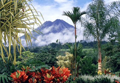 A photo of the jungle and mountains in Costa Rica