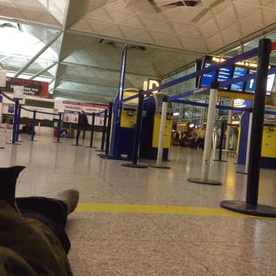 Sleeping at Stanstead airport