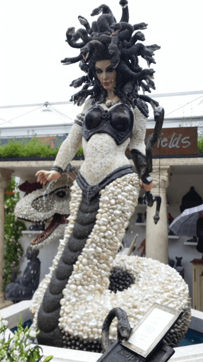 Enormous medusa statue made out of seashells