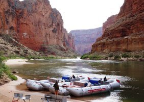 Rafts and camp in the Grand Canyon