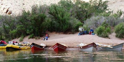 Wooden dories on the Grand Canyon's Colorado River