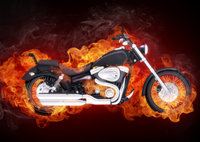 A motorbike surrounded by flames