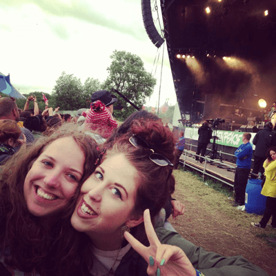 Helen Seeby and Katie Hall at Glastonbury