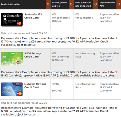 A screenshot of a cashback card comparison table