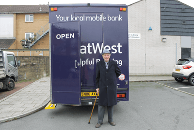 Anthiny Poole, customer on the mobile bank van