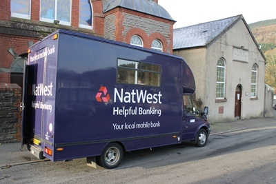 The Natwest mobile bank van in Resolven, Neath
