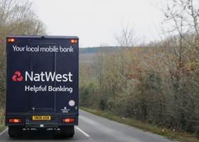 Natwest mobile bank van on its way to its next stop