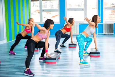 Image of women in a step class