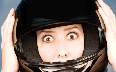 A terrified motorcyclist