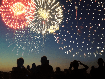 Image of people looking up at fireworks