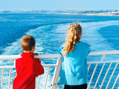 Some children on a ferry