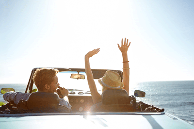 Image of people enjoying a convertible