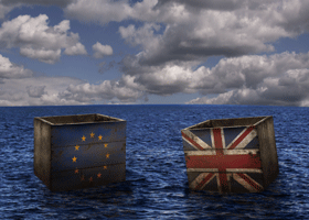 Image of British and European crates at sea