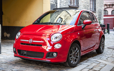 Image of a red Fiat 500