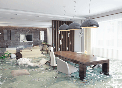 Image of a submerged living room