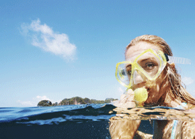Image of a woman snorkelling