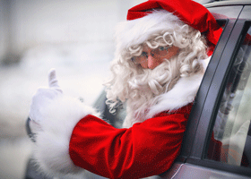 Image of santa in a car