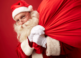 Image of Santa with a sack of presents