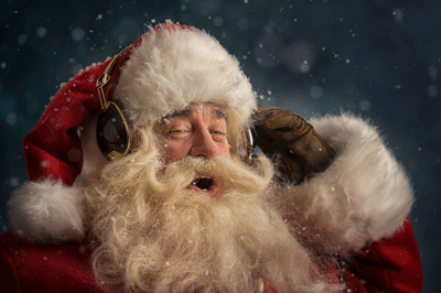 Image of Santa enjoying some music