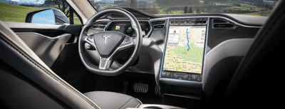 This is an image of the Tesla Model S interior navigation system