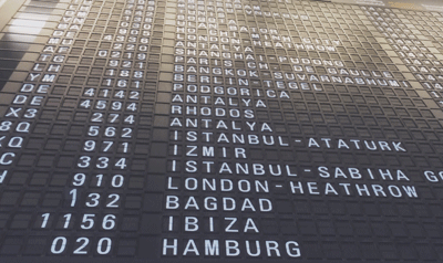 List of flight destinations and times