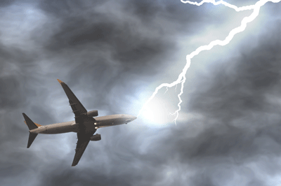 Image of a aeroplane being hit by lightening