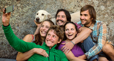 Image of friends with a dog