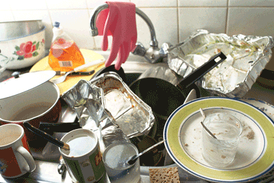 Image of a sink full of dirty dishes
