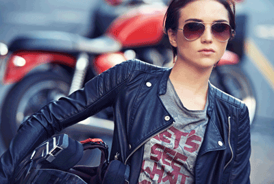Image of a cool female biker
