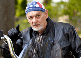 Image of a disgruntled biker