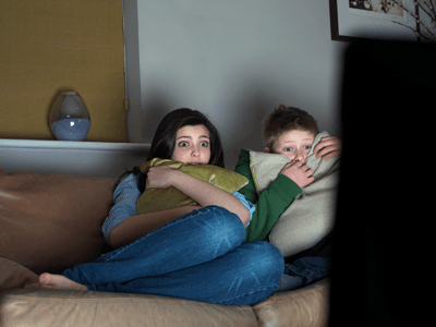 Image of kids watching scary movie