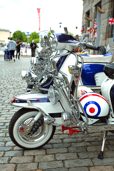Image of row of mod scooters