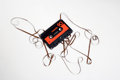 Image of a broken cassette tape