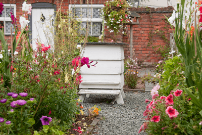 A beehive in a British back garden