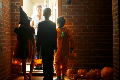 An image of trick or treaters