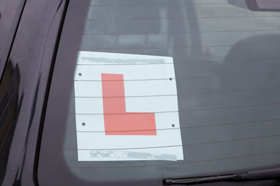 Put learner plates in your car window ready for the test